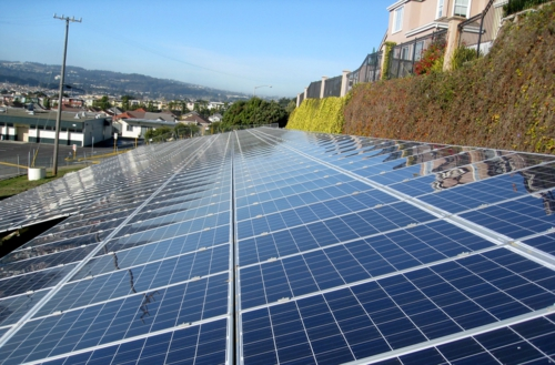 Solar panels grace the hillside at one of 15 South San Francisco Unified School District sites to receive solar arrays designed, engineered and installed by Chevron Energy Solutions.