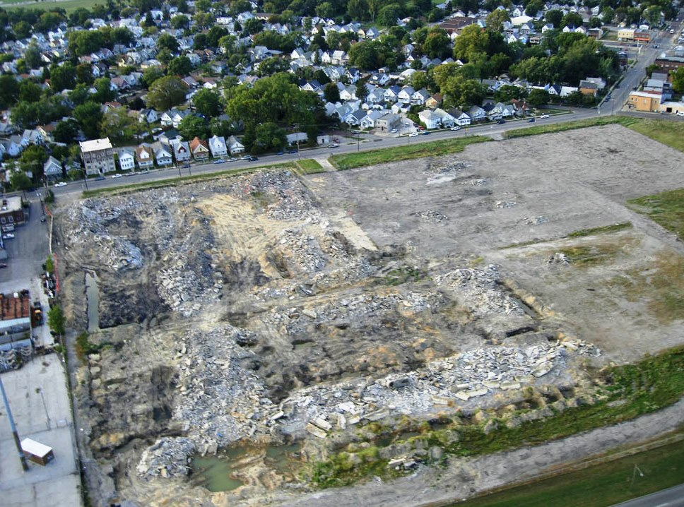 The brownfield before the solar installation.