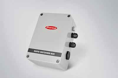The Fronius Rapid Shutdown Box is one string-level solution that acts upon loss of AC voltage.