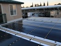 Existing carport retrofitted with MiaSole FLEX solar modules