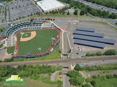RBI Solar's CP-P truss design holds up 1,776 solar panels at the TD Bank Ballpark in Bridgewater, N.J. This 515-kW project is part of a Somerset County effort to provide renewable energy sources to businesses and residents.