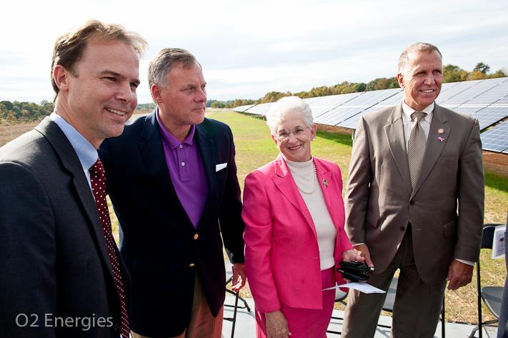 O2 energies managing director, Olee Joel Olsen, Senator Richard Burr, Representative Virginia Foxx, NC Speaker of the House Thom Tillis stand in front the Mayberry Solar farm.