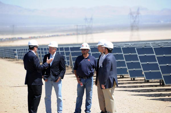 Secretary Speaks with First Solar and Enbridge leadership at the Enbridge Silver State North solar project in Nevada. (Tami A. Heilemann-Office of Communications, DOI)