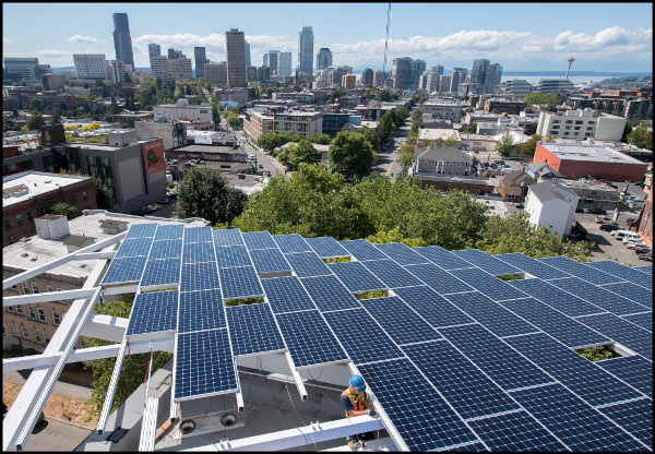 HatiCon Solar installed a ground-mount system on the roof of the six-story Bullitt Center in Seattle.  Photos courtesy of John Stamets.