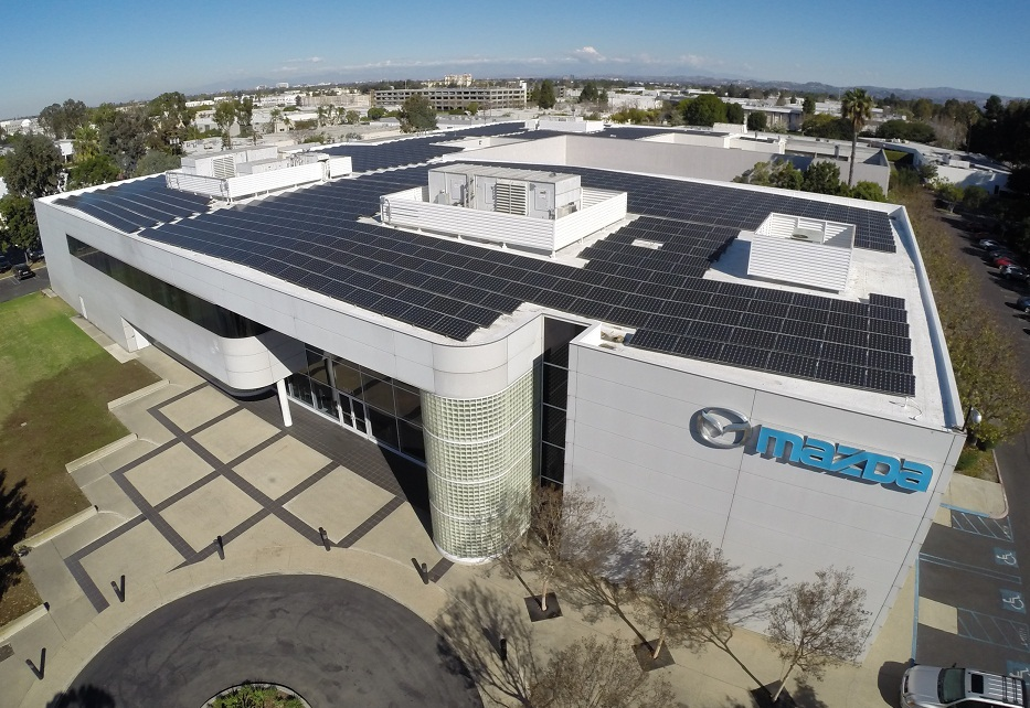 mitsubishi electric pv modules power mazda's r&d center in