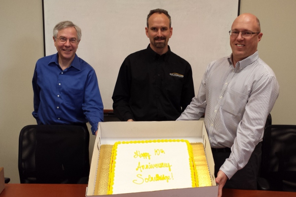 Three of SolarBridge's original founders — (L-R) Phil Krein, Brian Kuhn and Pat Chapman — at a recent 10-year anniversary party.