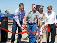 left to right: Nic Stover, CEO of CalCom Solar; Congressman Valadao; Brian Medeiros, VP, Medeiros & Son Dairy; Bernadette Del Chiaro, CALSEIA; Kelly Knutsen, CALSEIA. This CalCom Solar PV array (equipped with NEXTracker solar trackers) helps Medeiros and Son Dairy save money and better handle energy and water management.