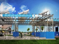Daytona International Speedway shows solar pavilion, patio, parking