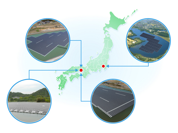 Map of floating solar power projects by Kyocera TCL Solar