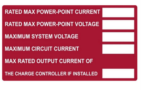 PV electrical code labels