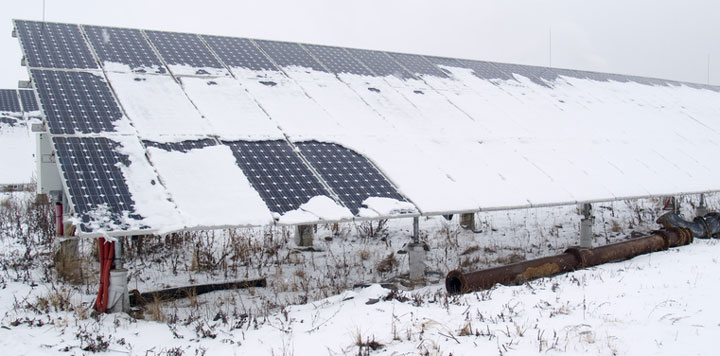 snow-covered solar panels