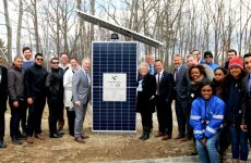 Sterling, MA residents, elected officials and solar and energy storage professionals joined Origis Energy USA and Sterling Municipal Light Department at today's Sterling Community Solar + Energy Storage project dedication event. The project marked the first solar plus storage project in operation in Massachusetts. (Photo: Business Wire)