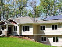 Home with solar panels on the roof. The house is located in Chatham County, N.C.
