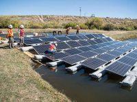 Floating PV being installed in Walden, Colorado. (Photo by Dennnis Schroeder/NREL)