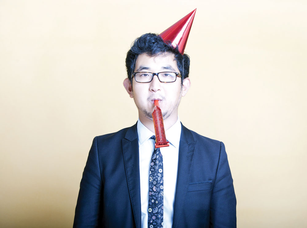 business man in party hat