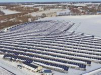 A snow covered project completed by GP Joule in Lake Waconia, Minn.