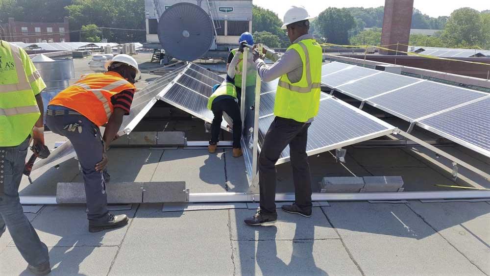 rooftop solar install