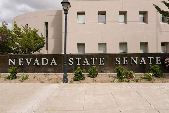 Nevada State Senate building entrance in Carson City
