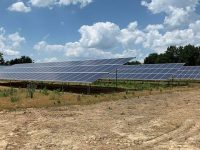 Solar cells provide power for an off-the-grid poultry house in Cullman County, Alabama. Auburn University and Tyson Foods are partnering on a research project studying solar energy usage versus standard electricity usage by a normal poultry house.