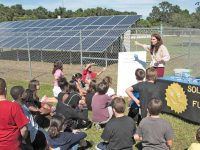 The Apollo Elementary School in Titusville, Fla., lost power during Hurricane Irma and used the solar + storage system to power emergency lights and charge cell phones. Photo Credit: Nick Waters, Florida Solar Energy Center