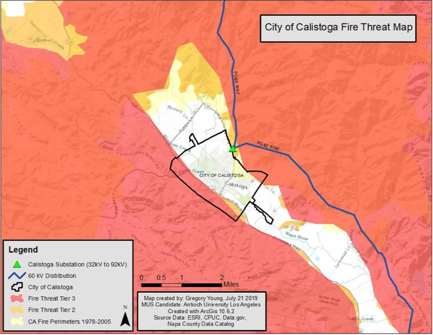 Calistoga fire threat map