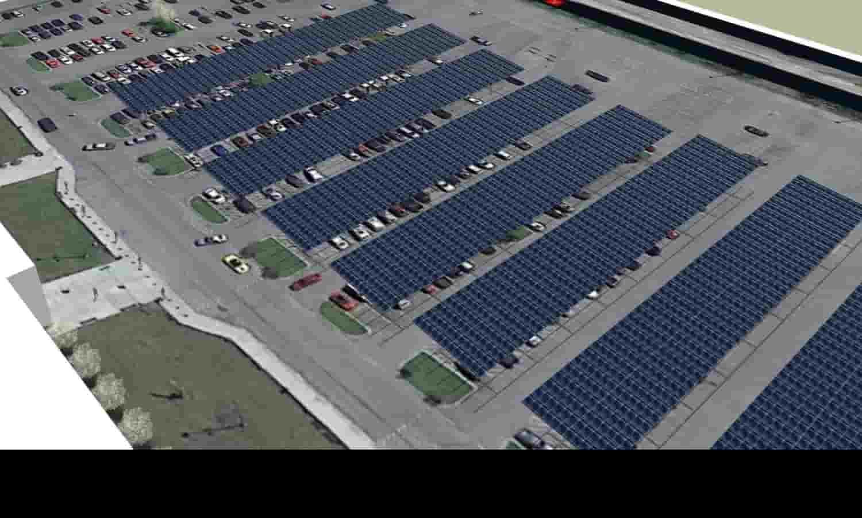 Aerial - Keesler AFB Solar PV Carport Rendering