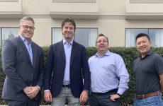 ▲ L-R: Yann Brandt, Quick Mount PV; Stijn Vos, Esdec; Bart Leusink, EcoFasten; Rich Tiu, IronRidge.