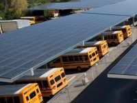 Solar parking canopies shading school buses at Analy High School, a Sage Energy site in the West Sonoma County Union High School District.