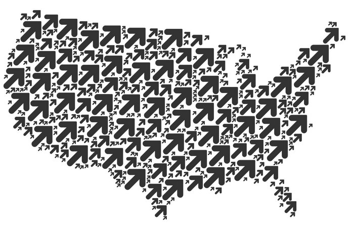 United States Map Mosaic of Arrow Up Right