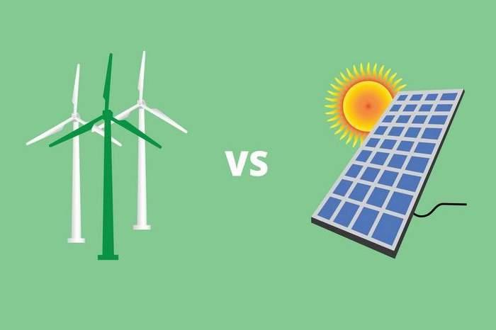 green energy solar panel vs versus wind turbine vector
