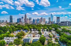 Drone Aerial of Downtown Charlotte, North Carolina, NC.