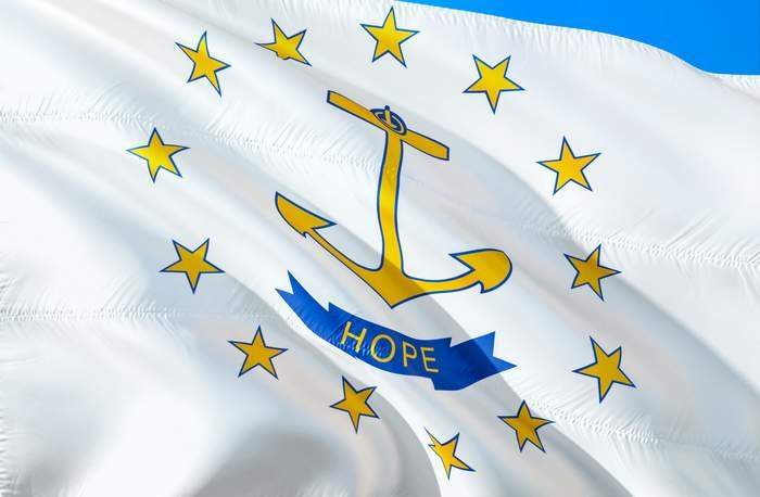 Rhode Island flag. 3D Waving USA state flag design. The national
