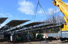 QuadPod long span solar carports construction in Washington D.C. Photo: Quest Renewables