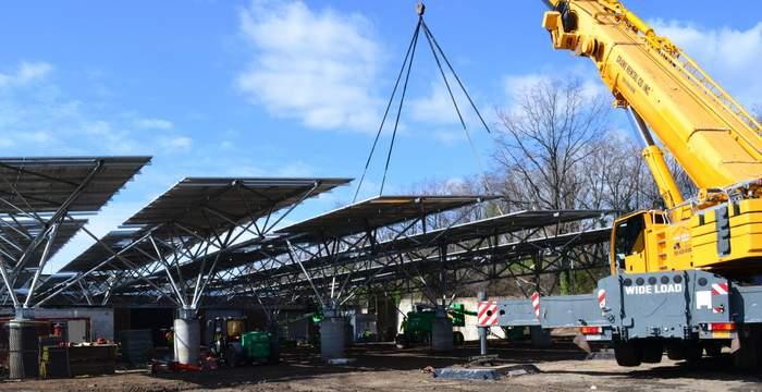QuadPod long span solar carports construction photo Washington DC