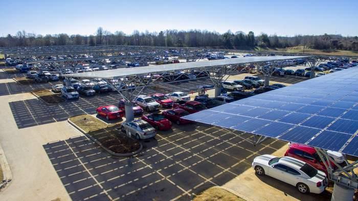 Quest Renewables QuadPod double cantilever solar carport