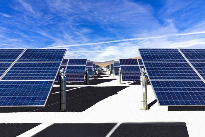Terra Pave Albedo solar tracker farm