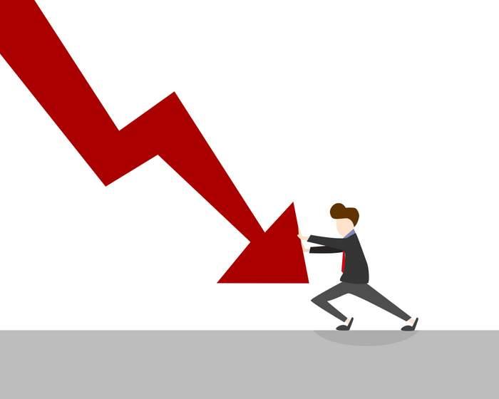 down arrow job losses