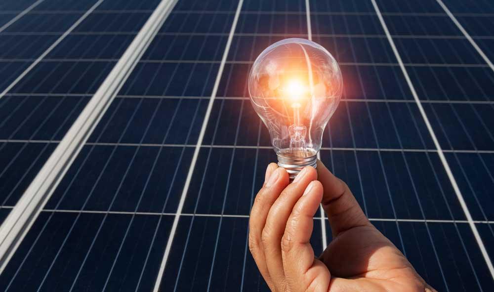solar panel and light bulb