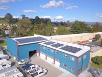 A microgrid at Sandbar Solar & Electric Warehouse. Photo via Blue Planet Energy.