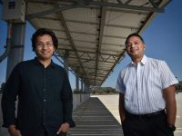 UCI Grad Student Anomadarshi Barua, who is doing research in solar energy, left, with Al Faruque, associate professor for UCI's Samueli School of Engineering.Photo by Steven Georges/UCI