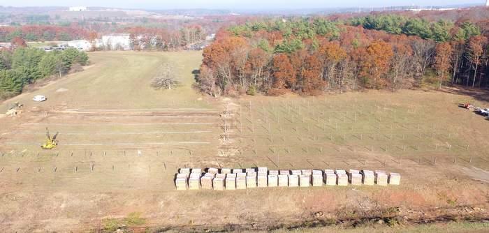 field construction of solar field on Dayville, CT.