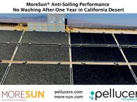 MoreSun's Anti-Soiling technology added up to 12% additional energy during a multi-year field test in the California Desert. The modules in the photo were not washed for a full year.