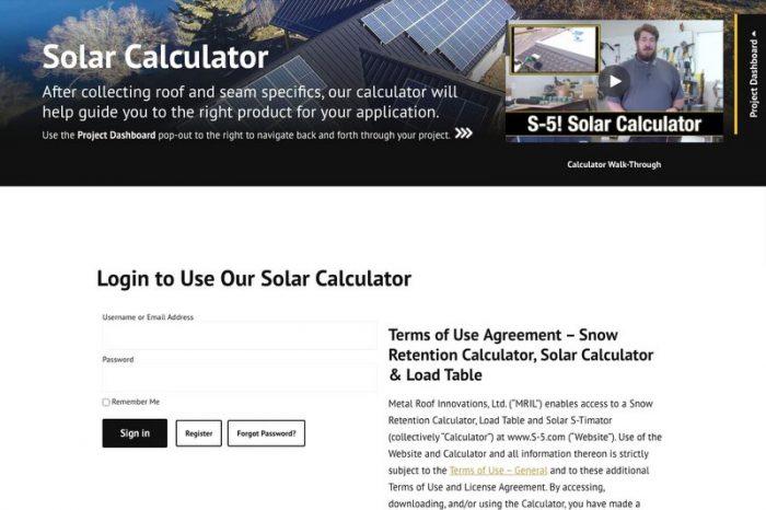 S-5! solar calculator