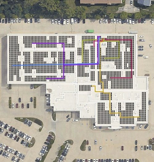 Layout of solar panel array on roof of the dealership