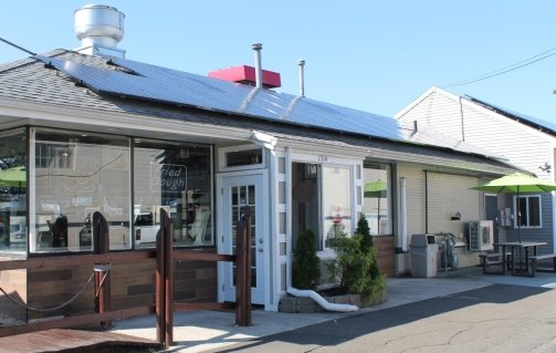 Westville Seafood in New Haven, CT and its 88 370W panel rooftop solar array.