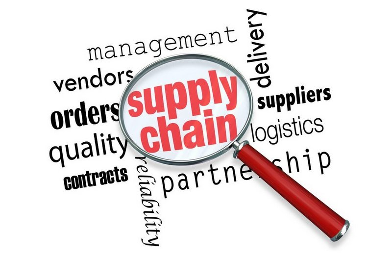 Supply Chain Logistics Magnifying Glass Words